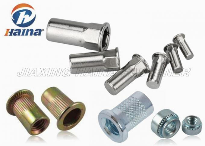 Zinc Plated Blind Rivets Nuts Flat Head Carbon Steel M5 M20 With  Hex Body