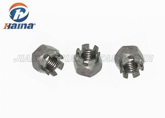 Hexagon Slotted Castle Stainless Steel Nuts Metric Coarse For Military DIN 935